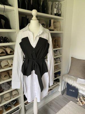 Długa bluzka biały-czarny