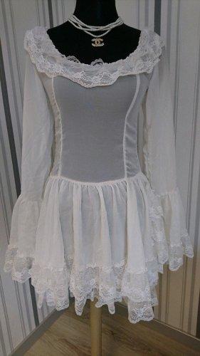 Blouse longue blanc tissu mixte