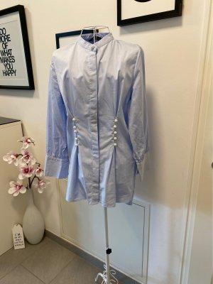 Zara Woman Blusa larga azul bebé-azul celeste