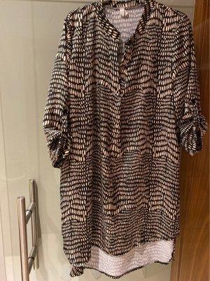 Hemdblousejurk zwart-beige Polyester