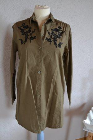 Longbluse Oliv khaki Stickerei schwarz floral
