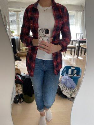 Longbluse, xs, Baumwolle, rot blau, tailliert