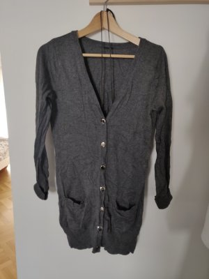 Longcardigan Strickjacke Zara grau chice Metallknöpfe leisure homewear
