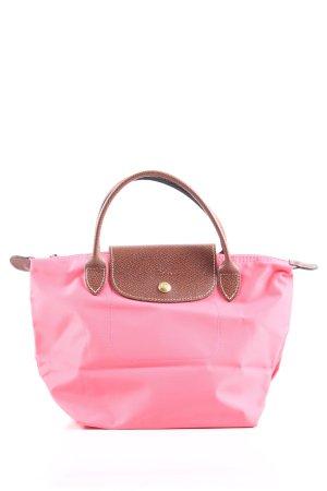 Longchamp Henkeltasche pink-braun Motivdruck Casual-Look