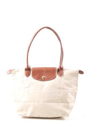 Longchamp Schultertasche weiß-braun Casual-Look