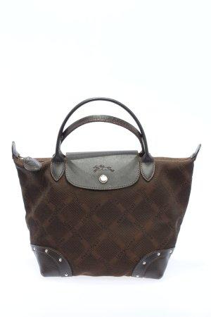 Longchamp Henkeltasche braun-schwarz Schriftzug gedruckt Business-Look
