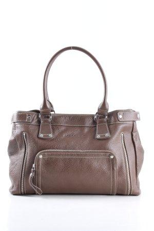 Longchamp Henkeltasche braun Schriftzug gedruckt Casual-Look