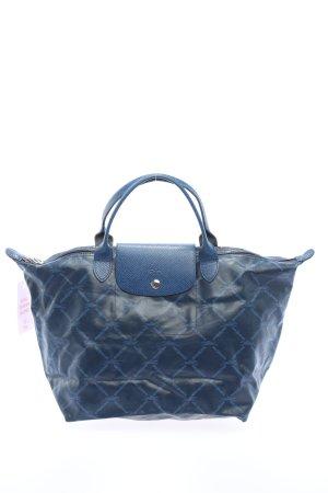 Longchamp Henkeltasche blau Karomuster Casual-Look