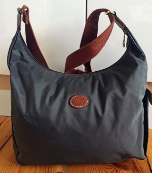 Longchamp Bolsa Hobo gris antracita-marrón Nailon