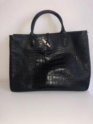 Longchamp Roseau Leder Handtasche in Schwarz