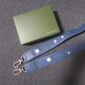 Longchamp Schulterreimen Leder blau silber neu