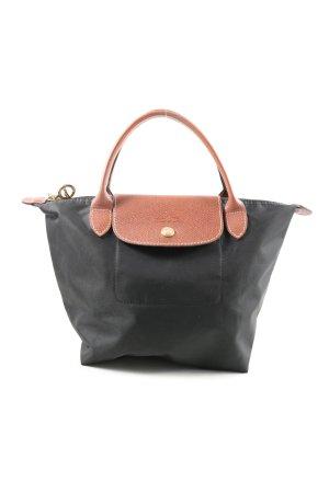 Longchamp Schultertasche schwarz-pink Motivdruck Casual-Look