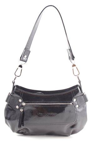 Longchamp Sac porté épaule noir style mouillé