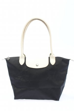 Longchamp Schultertasche schwarz-weiß Casual-Look