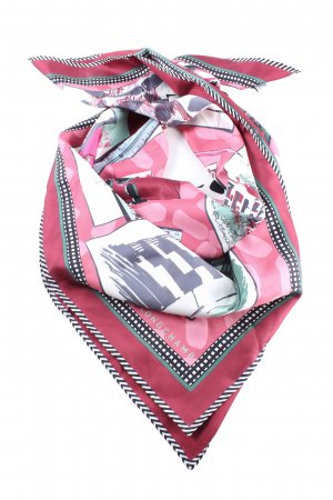 Longchamp Silk Scarf abstract pattern casual look