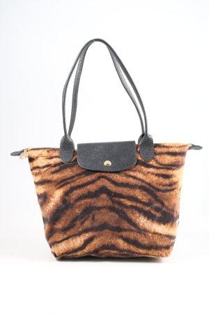 Longchamp Shopper hellorange-schwarz Animalmuster Casual-Look