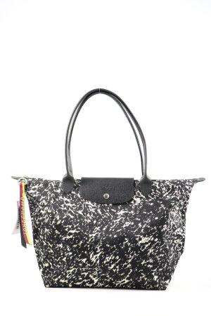 Longchamp Borsa shopper nero-bianco motivo astratto stile casual