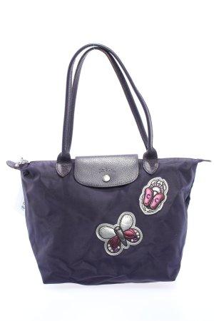 Longchamp Stofftasche lila Motivdruck Casual-Look