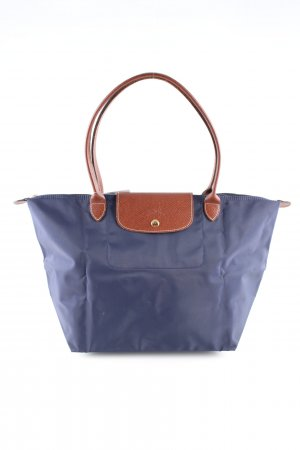 Longchamp Stofftasche blau-braun Casual-Look