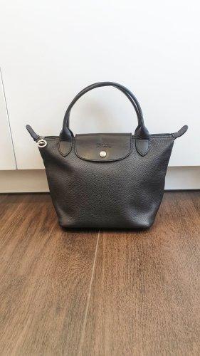 Longchamp Veau Foulonné S schwarz Leder Cuir Henkeltasche Le Pliage Handtasche klassisch