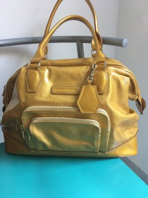 Longchamp Vintage geräumige goldfarbene Lacktasche