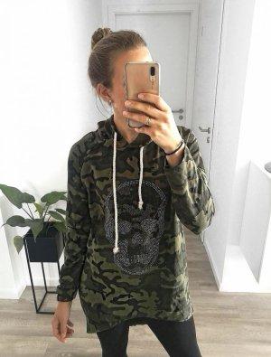 """Longhoodie im Army Look """"schwarz"""" mit Muster – Gr. XS-L schwarz"""