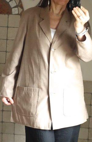Longjacke, Blazer, Kurzmantel, leichte Jacke, klassischer Stil, Revers, leicht ausgestellt, aufgesetzte Taschen, Straußenleder Imitat, gepunktete Struktur Muster glänzend auf mattem Untergrund, beige, braun, hellbraun, ist mit Gr. 40 bezeichnet  (fällt et