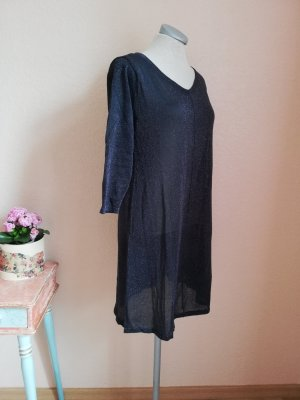 Longpulli antrazit Pullover lang Strickkleid silber glitzer neu Gr. S 36 38