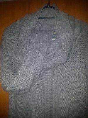 Longpulli grau Tom Tailor m/l Wasserfallkragen Pullikleid Strickkleid Casual-look