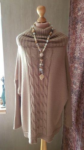 Made in Italy Długi sweter jasnobrązowy-piaskowy brąz Poliakryl