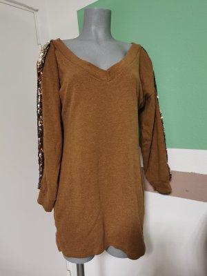Długi sweter w kolorze różowego złota-brązowy