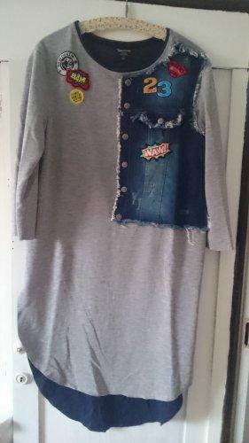 0039 Italy Shirt Dress light grey-dark blue