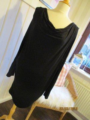 Longshirt Minikleid Casual Look Wasserfallausschnitt schwarz