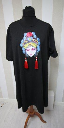 Vestido estilo camisa negro-rojo