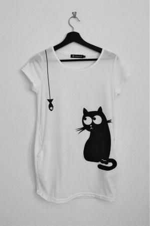 Allegra K. Haut long blanc-noir polyester