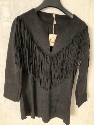 Longshirt von Raga, schwarz, Gr. S in Lederlook