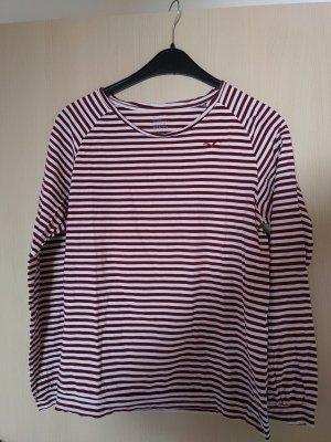 Cleptomanicx T-shirt rayé blanc-rouge carmin