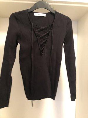 Zara Knit Maglione con scollo a V nero