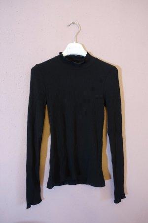 Longsleeve, Langarmshirt, &other Stories, Shirt mit Stehkragen, gerüscht, schwarz
