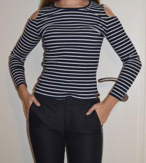 AIKI KEYLOOK Longsleeve white-dark blue cotton