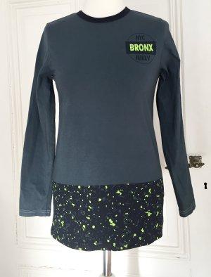 Longsleeve mit Muster in schwarz und neon gelb / grün 100 % Baumwolle
