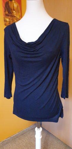 Flame Camisa con cuello caído azul oscuro-negro