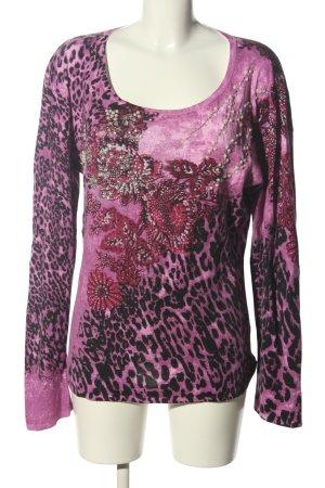 Longsleeve pink-schwarz Animalmuster Casual-Look