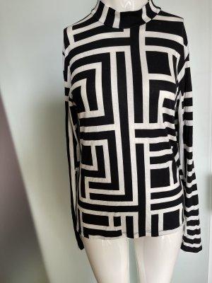 Longsleeve Shirt Bluse Gr 36 38 L schwarz-weiß