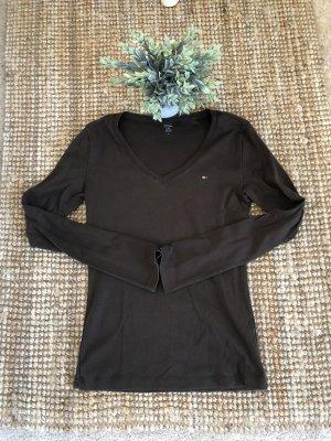 Tommy Hilfiger Sweter z dekoltem w kształcie litery V brązowy