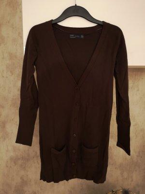 Zara Cardigan lungo smanicato marrone scuro