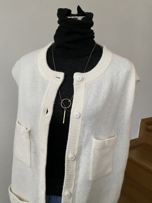 American Vintage Długa dzianinowa kamizelka w kolorze białej wełny