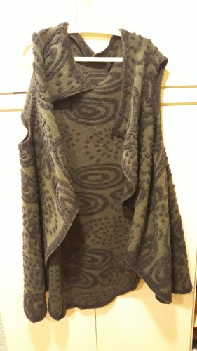 Lang gebreid vest antraciet-donkergroen Wol