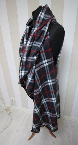 Gilet long tricoté noir-rouge