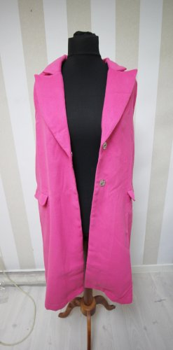 Gilet long tricoté rose